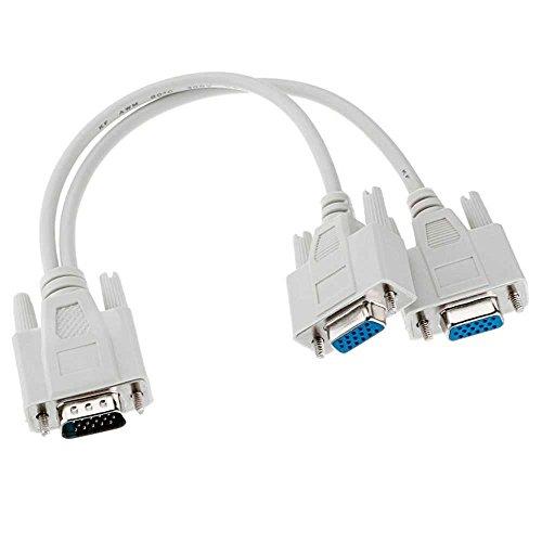 OcioDual Cable Duplicador Adaptador de Imagen SVGA HDB15 de Macho a 2 VGA Hembra Divisor Splitter Video Imagen para Monitor Gris