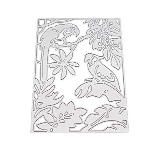 GUOQIAO✯Baum Blatt Papagei Metall Stanzformen Schablone Scrapbooking DIY Album Stempel Papier