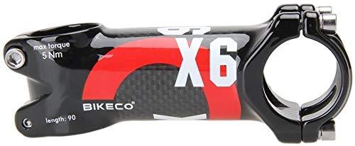 Neuer Carbon-Fahrrad Vorbauten, Leichter Aluminium + Carbon-Fahrradlenker, Mountainbike-Vorbau Rennrad-Vorbau ø31,8x80 / 90/100 / 110mm 7-Grad-Vorbau 3K Glanz (Rot,80mm)