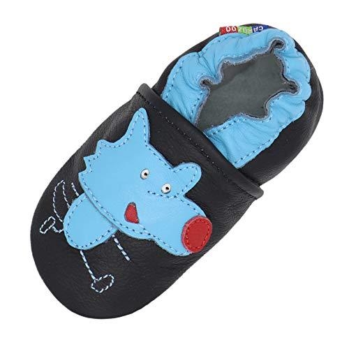 Carozoo Chaussures d'intérieur pour bébé en cuir avec semelle souple (16 modèles) - Noir - Wolf Black, 32 EU