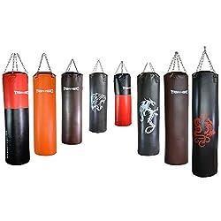 TrainHard Boxsack Sandsack Punching Bag gefüllt inkl. Heavy Duty Stahlkette und Drehwirbel (100 cm / 32 kg/Braun)