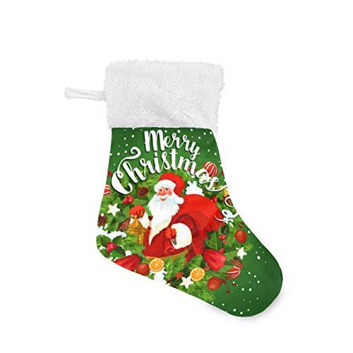REFFW Weihnachtsstrumpf Kits für Familienurlaub Xmas Party Dekorationen Bulldog Classic personalisiert mit weißem Plüsch Trim Weihnachten grün Weihnachtsmann Geschenk groß 4 Stück