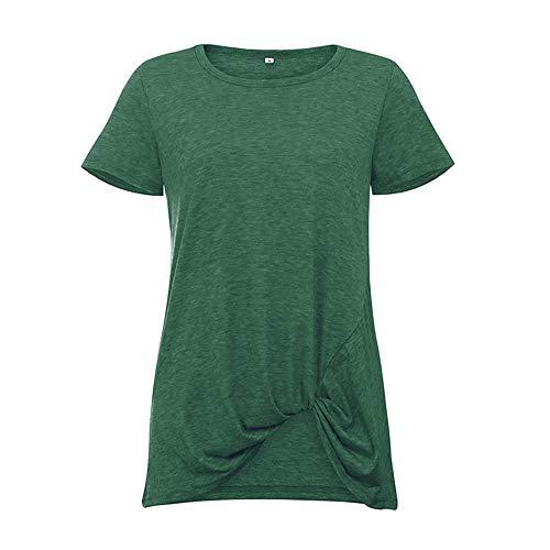 x8jdieu3 Frühling und Sommer Neue Damen kurzärmelige geknotete Rundhals-Hemd kurzärmelige T-Shirt Bluse lose Weste