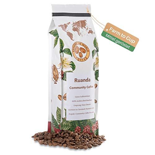 EXPLORE THE WORLD COFFEE Ruanda Community Coffee - 500 Gramm ganze Kaffeebohnen - 100% Arabica Bohnen - Mittlere Röstung für Vollautomat, Filter + leichten Espresso - Hochland Röstkaffee aus Afrika