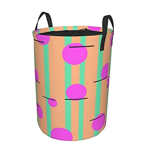 Cesta de almacenamiento, rayas verticales y círculos, cesto de lavandería grande plegable con asas 19'x14'