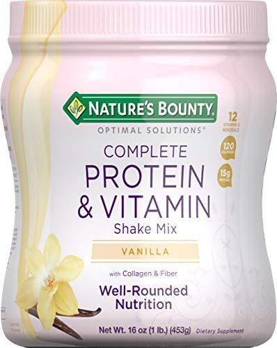 Nature's Bounty Complete Protein & Vitamin Shake Mix with Collagen & Fiber, Contains Vitamin C for Immune Health, Vanilla Flavored, 16 Oz