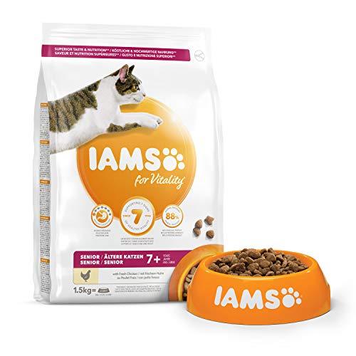 IAMS Vitality - Croquettes Premium Chats séniors - savoureuses complètes équilibrées - Favorise Croissance et Vitalité - Au poulet frais – Sans OGM colorant arôme artificiel - Sac refermable 1,5 kg