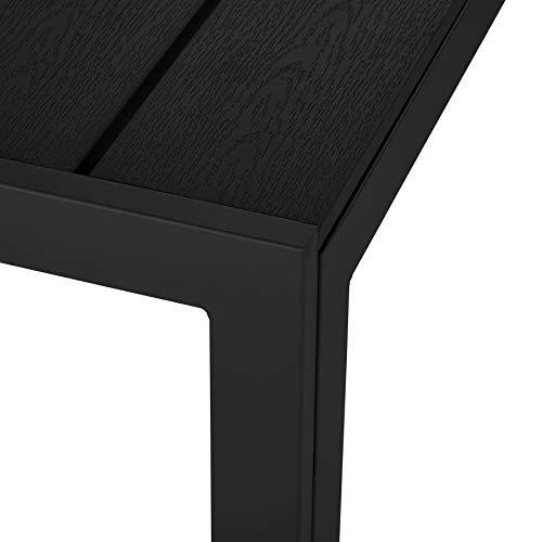 tectake TecTake 800716 Gartentisch mit stabilem Aluminiumrahmen, Holzoptik, Zwei höhenverstellbare Füße, belastbare Tischoberfläche, pflegeleicht, 150 x 90 x 74,5 cm - Diverse Farben - (Schwarz   Nr. 403296)