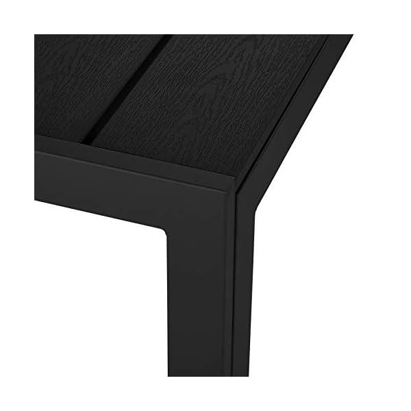 TecTake 800716 Gartentisch mit stabilem Aluminiumrahmen, Holzoptik, Zwei höhenverstellbare Füße, belastbare…