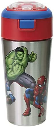 Zak Designs Comics Durable Stainless Steel Straw Bottle with Push Button Flip Lid Vacuum Insulation product image