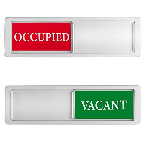 """Privacy Sign, Vacant Occupied Sign for Home Bathroom Office Restroom Conference Hotles Hospital, Non-Scratch Magnetic Slider Door Indicator Tells Whether Room Vacant or Occupied, 7""""x 2"""" (Silver)"""