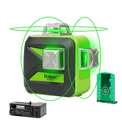 Huepar 603CG Nivel Láser 3 X360 Verde 40m con MODO DE PULSO, TRIPLE FUENTE DE ALIMENTACIÓN, 3D Conmutables 12 Líneas, Autonivelante Líneas Cruzado, 360 Vertical/Horizontal Líneas, 360° Base Magnética