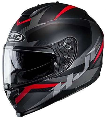 HJC Helmets Unisex– Erwachsene Nc Motorrad Helm, Schwarz/Grau/Rot, M