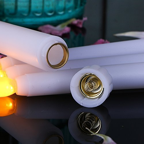 ( Set of 6) 11 inch LED Flameless Taper Candle for Dinner, Flickering Flameless Tapered Candles,Battery Operated LED Centerpieces Table Settings Weddings Birthday Parties
