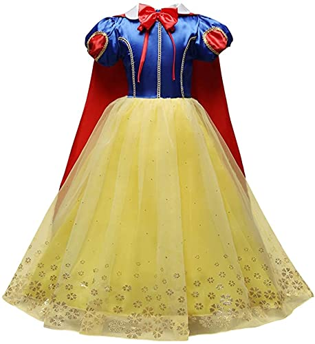 GDYJP Niños Niñas Nieve Blanco Fantasía Dress Up Disfraz Princess Vestido + Cabo Capa Hadas Cuento Cosplay Halloween Navidad Cumpleaños Pagoant Destino de Fiesta Traje Traje de Longitud Completa