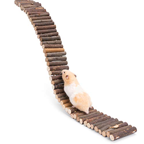 Niteangel Hamster Suspension Bridge Toy - Long Climbing Wooden Ladder for Hamsters Mice Mouse Gerbils Sugar Glider Rat and Other Small Animals (25.6L x 2.8W)