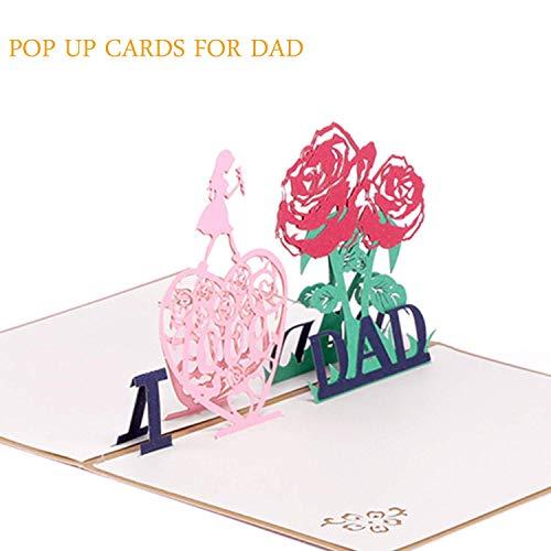 MoreLucky Papa Kaarten Wenskaart Verjaardag 3D Dank U Kaarten en Envelop Papa Moeder Verjaardagskaarten voor Vriendschap Beste Wensen Origami Paper Craft