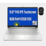 2021 Flagship HP 15 Laptop Computer 15.6' FHD IPS Touchscreen Display 10th Gen Intel Quad-Core i7-1065G7 16GB DDR4 512GB SSD WiFi Webcam HP Fast Charge USB-C Win 10 + iCarp Wireless Mouse
