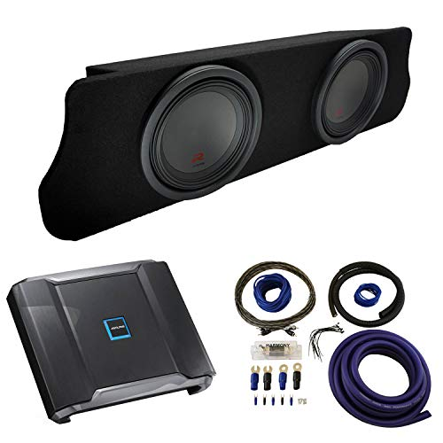 "Compatible with 1994-2004 Ford Mustang Coupe Alpine Type R R-W12D2 Dual 12"" Custom Sub Box Enclosure with R-A75M Amplifier & 0GA Amp Kit"