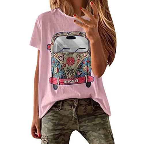 VEMOW Camisetas Mujer Verano Primavera Moda para Chicas Tallas Grandes Imprimir De Manga Corta Blusa Cuello Redondo Y Manga Corta Blusa Superior Informal Polos Tops 2019 Nueva(Rosado,XL)