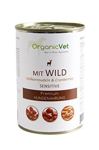 OrganicVet hond natte voeding Sensitive Wild met volkorrelnoedels en cranberries, 6-pack (6 x 400 g)