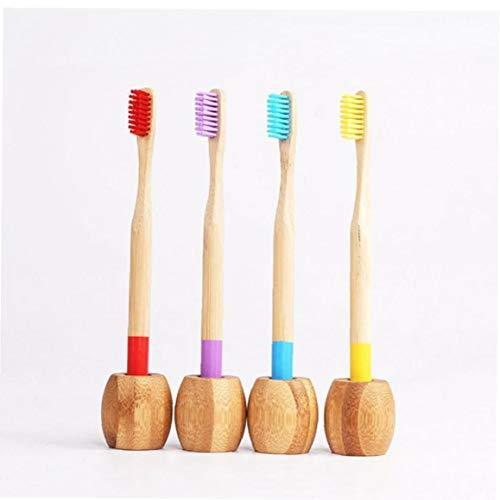 4pcs Eco De Bambú Cepillo De Dientes Titular De Madera Cepillo De...