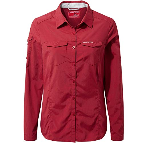 Craghoppers NosiLife Womens Adventure Long-Sleeved Shirt, 20 UK/20 UK Damen, fire red 5EA