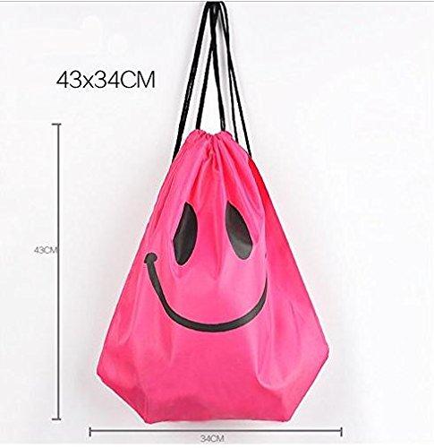 JSH Coulisse Pouch Bag Abbigliamento e Scarpe Sacchetto Impermeabile del Sacchetto Piscina Beach Backpack (smile2)