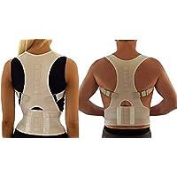Ducomi Extreme Posture - Corrector de Postura Ajustable para Espalda - Correa de Soporte y Ayuda de Corrección con 12 Imanes de 800 Gauss - Evita Dolor e Inflamación en Articulaciones (Beige, L)
