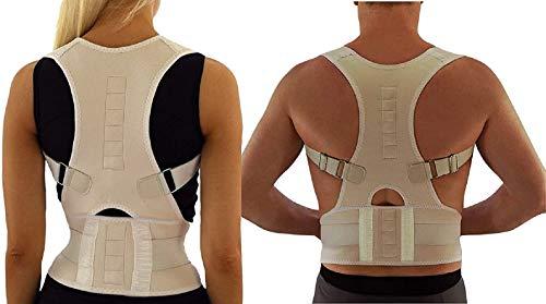 Ducomi Extreme Active Posture Tutore Schiena Posturale Regolabile Fascia Magnetica, Bretella Uomo Donna Supporto Sostegno Correttivo 12 Magneti 800 Gauss, Migliora Postura Dolore (Beige, XL)