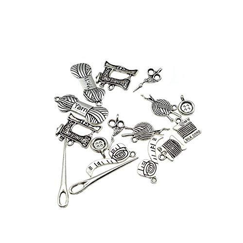 Fliyeong Wholesale 16 piezas de accesorios de costura mixtos colgantes para hacer joyas y manualidades, duraderos y útiles