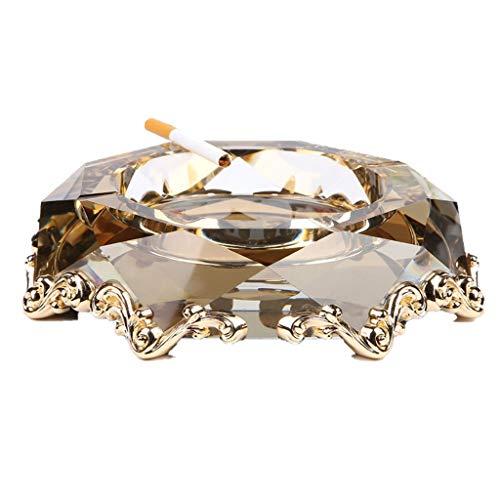 Grote metalen asbak kristal glas opslag emmer kantoor woonkamer opbergdoos huis cadeau 20 * 20 * 5CM/8 * 8 * 2 INCH Goud