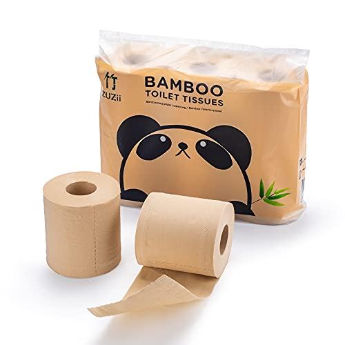 Zuzii 3-lagige Bambus Toilettenpapier,100% Bambus,hautfreundlich,umweltfreundlich| 6x10 Rollen