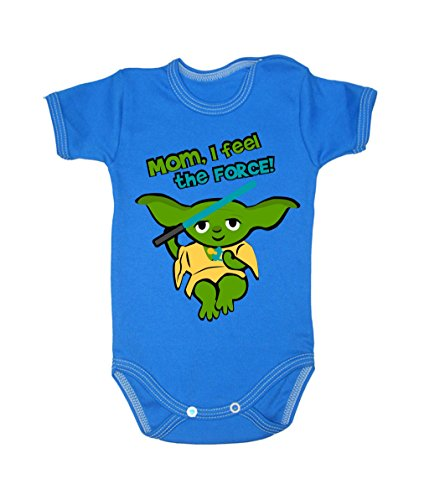Couleur Mode bébé Yoda bodies à manches courtes 100% coton Petit bébé – 24 mois – 0012 bleu 12-18 months, 86 cm