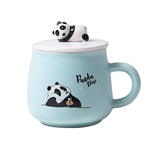 Taza de café Taza De Cerámica Esmaltada De Color Panda De Dibujos Animados Tridimensional De 400 Ml, Taza Bonita Para Hombres Y Mujeres, Taza Artística Hipster Ins