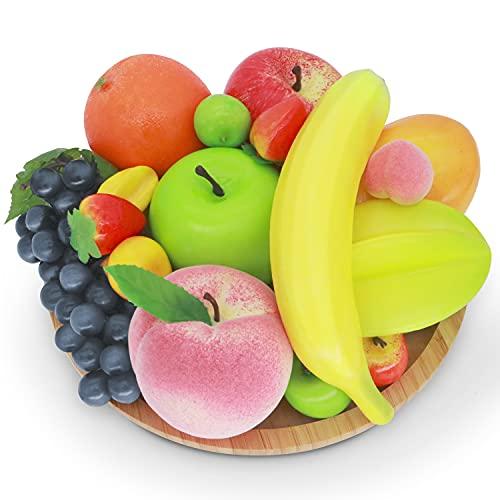 JEEZAO Set di Frutti Artificiali,Frutta Finta Decorativi Realistici per la Decorazione della Casa, Scatta Foto di Modelli di Frutta,12 Tipi di Frutta 16 Pezzi (Stile1)