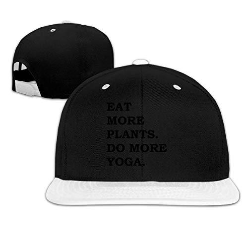 LLALUA Eat More Plants Do More Yoga Hip Hop Snapback Baseball Hat Adjustable Men's White