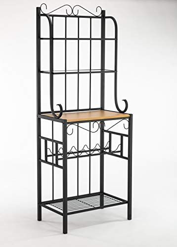 Kings Brand Furniture – Black Metal / Faux Stone 5-Tier Kitchen Storage Bakers Rack