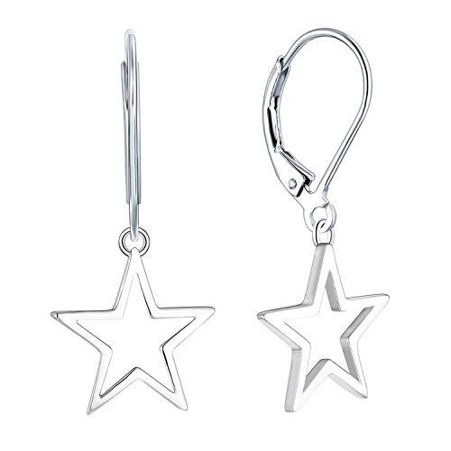 JO WISDOM Damen Ohrhänger Stern Silber 925, Ohrringe Hängende mit Weißgold überzogen Schmuck für Frauen
