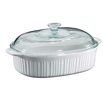 CorningWare 6002278 French White 4 Quart Oval Casserole W/Glass Cover (2-Pack)