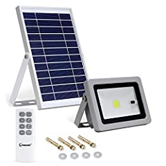 【Remote Control +Light Sensor】10W 800 lumens cool white solar flood light is controlled by remote control and it lights up a 16.5x16.5ft area of your yard/patio/pooled/barn and more at night. You can use the remote control to choose timer, constant l...