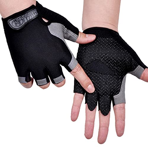 AOOF Guantes deportivos para hombre y mujer, antideslizantes, resistentes al sudor, con medio dedo, absorción de golpes, antideslizantes, transpirables, para moto y bicicleta de montaña, S TypeA-Black