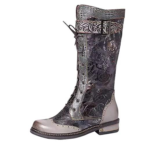 Xiand Boots Stiefeletten Damen Cowboystiefel Westernstiefel für Damen Halbhohe Stiefel Stickereien Biker Boot Schlupfstiefel westernstiefel Retro-Stiefel Western Leder Reitstiefel