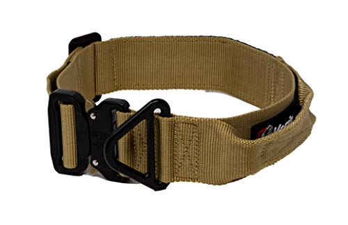 Verja Tactical Adjustable Dog Collar with Heavy Duty Metal Buckle for Medium & Large Dogs K9 Military Dog Training Collars with with Control Handle (XL (20' - 28'), Sand)