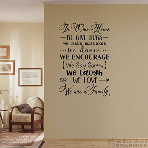 in Our Home Wall Decal - We zijn een familie - We geven knuffels - We houden van - We maken fouten - We lachen - Family Quote Decor 32