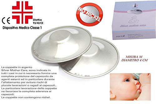 Paracapezzoli Coppette Copricapezzoli dispositivo medico classe A1 in argento 925 misura M diametro 4 cm. per la protezione del capezzolo prima e durante l'allattamento in caso di ragadi al seno