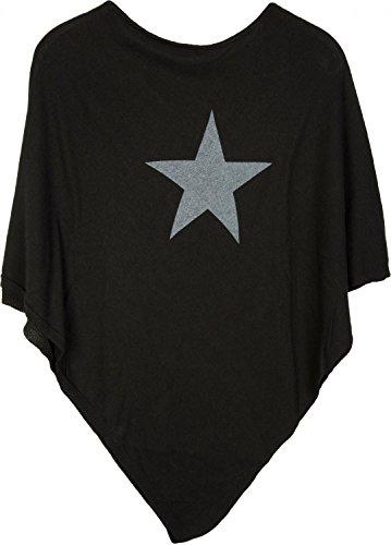 styleBREAKER weicher Feinstrick Poncho mit aufgedrucktem Glitzer-Stern, Rundhals, Damen 08010028, Farbe:Schwarz-Grau
