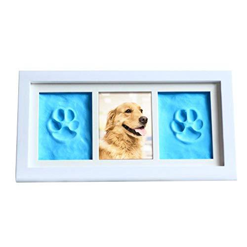 cuffslee Pfotenabdruck Set Hund und Katze, Holz Bilderrahmen 3D Pfotenabdruck Set Lieblingshund Perfekter Andenken Bilderrahmen für Tierliebhaber Mit Stempelkisse