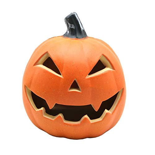 JYBSTA Halloween LED Lantern Light, 3D Jack-O-Lantern Orange Pumpkin Lights for Halloween Indoor Outdoor Decorations New Halloween Creative LED Round Lightened Pumpkin