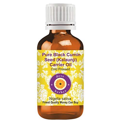 Deve Herbes Huile de porteur de graines de cumin (Kalaunji) noires (Nigella sativa) 100% naturelles de qualité thérapeutique pressées à froid 30ml (1.01 oz)